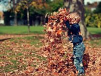 Child playing outside in the fall